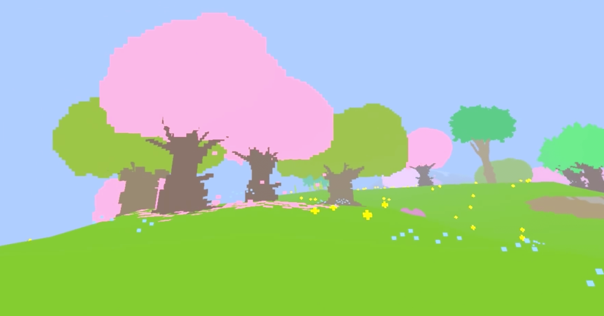 A picture example of Proteus in it's light springtime form with colorful trees and flowers.