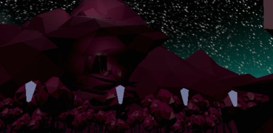 This is a screenshot of the Level 2 environment which is partially outdoors with a user entering a cave system