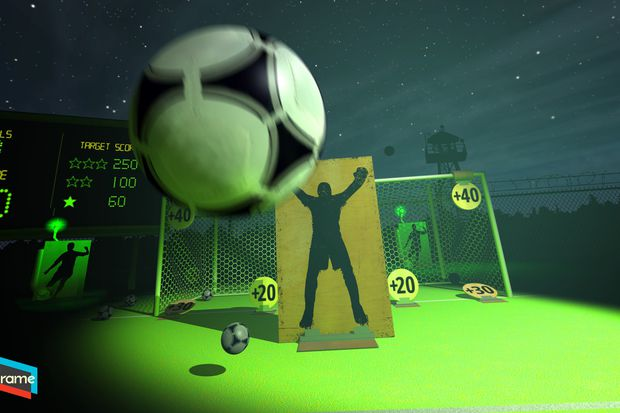 Picture of Headmaster VR which uses positional tracking for a purely gaze-based VR game that allows the user to headbutt a soccer ball. Image Credit to: Polygon. Link: https://www.polygon.com/2016/3/16/11248408/headmaster-headbutt-soccer-ball-vr
