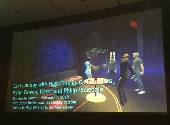 Lori Landay shows an example of how a player with autism might feel more comfortable socializing in VR. Photo by GamesBeat. LINK: https://venturebeat.com/2018/03/21/designing-for-vr-accessibility-means-dialing-down-from-or-sometimes-up-to-11